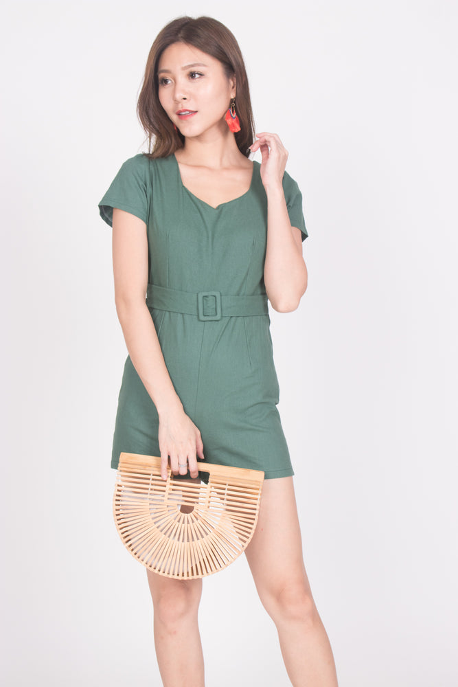 Load image into Gallery viewer, Helia Belted Romper in Green