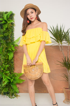 Lorea Offsie Dress in Yellow