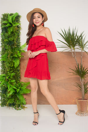 Lorea Offise Dress in Red