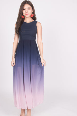 *LUXE* Erila Ombre Maxi Dress in Navy