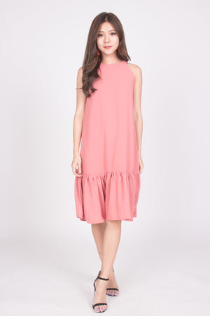 Heiley Halter Dress in Blush