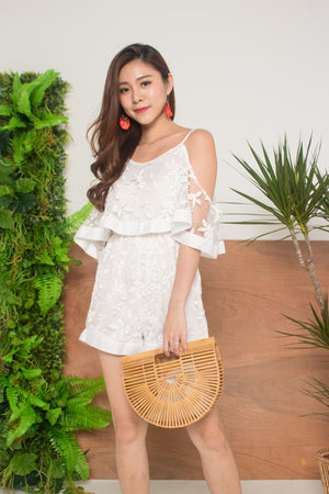 Theadra Mesh Romper in White