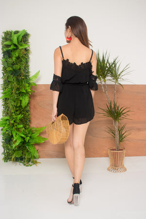 Andrra Crochet Romper in Black