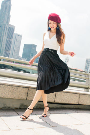 LUXE - Mixa Pleated Skirt in Black