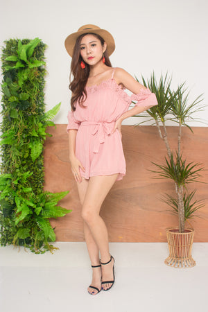 Load image into Gallery viewer, Andrra Crochet Romper in Pink