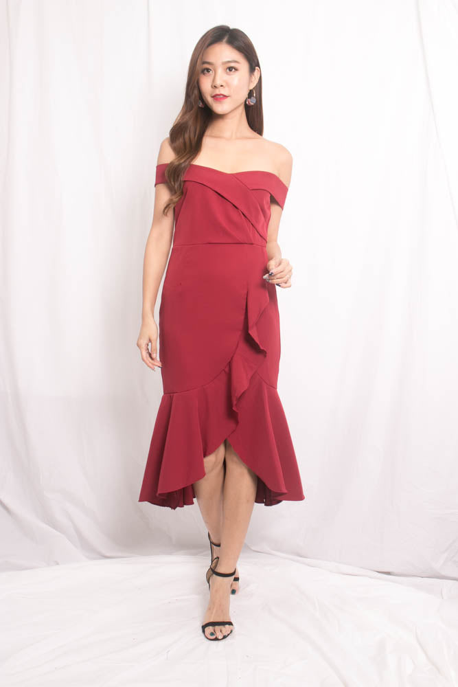 Load image into Gallery viewer, Cherlyn Flutter Offsie Dress in Burgundy