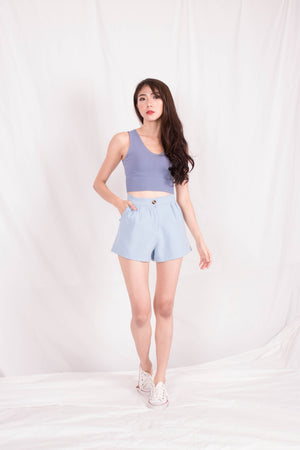 Load image into Gallery viewer, *PREMIUM* - Jewelia High-Waisted Shorts in Baby Blue - Self Manufactured by LBRLABEL