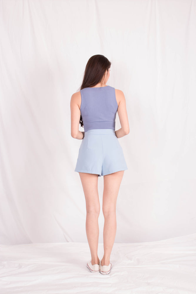 Load image into Gallery viewer, *PREMIUM* - Jewelia High-Waisted Shorts in Pastel Blue - Self Manufactured by LBRLABEL