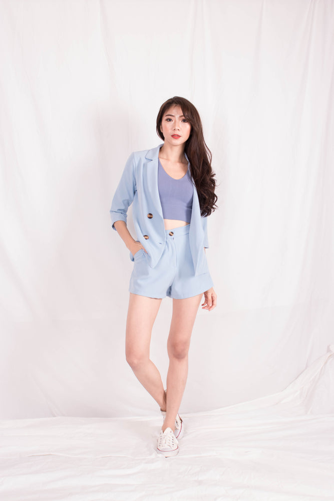 *PREMIUM* - Shelia Suit up Blazer in Baby Blue - Self Manufactured by LBRLABEL