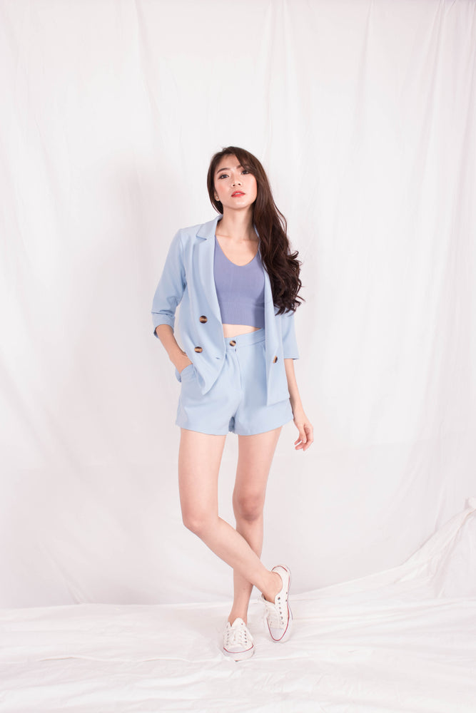 Load image into Gallery viewer, *PREMIUM* - Shelia Suit up Blazer in Pastel Blue - Self Manufactured by LBRLABEL