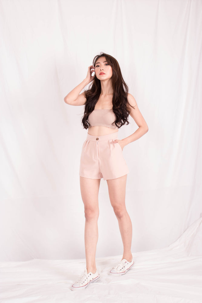 Load image into Gallery viewer, *PREMIUM* - Jewelia High-Waisted Shorts in Khaki - Self Manufactured by LBRLABEL