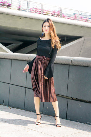 LUXE - Mixa Pleated Skirt in Maroon Brown