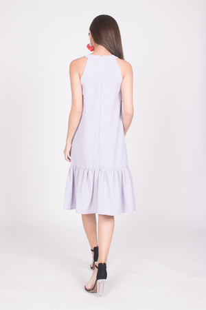 Heiley Halter Dress in Lilac Grey
