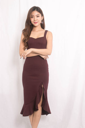 *PREMIUM * JODILIA MERMAID DRESS IN BURGUNDY - SELF MANUFACTURED BY LBRLABEL