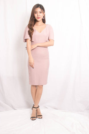 Adali Sleeved Dress in Pink