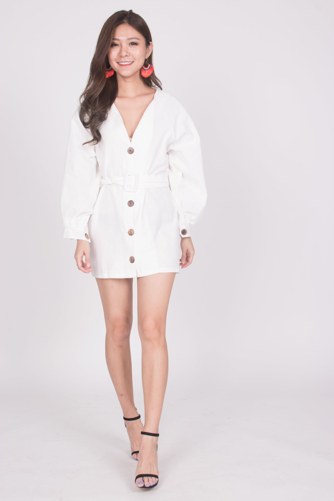 3761d153 Lindie Button Down Tunic in White - LBRLABEL
