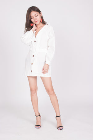 Lindie Button Down Tunic in White