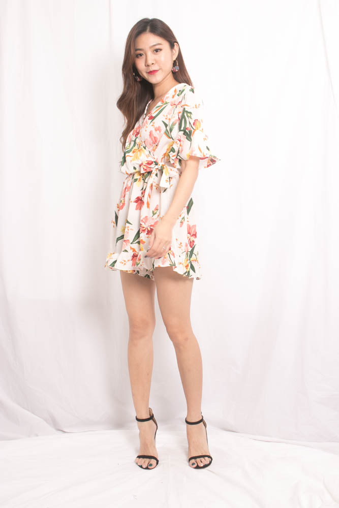 0f6aca35ded6 Sally Floral Printed Romper in White - LBRLABEL