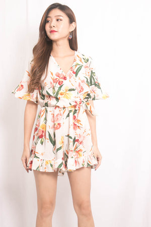 Sally Floral Printed Romper in White