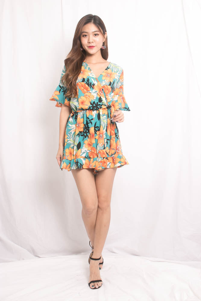 96977e119092 Sally Floral Printed Romper in Green - LBRLABEL