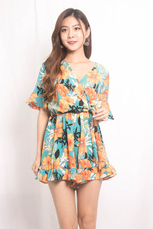 Sally Floral Printed Romper in Green