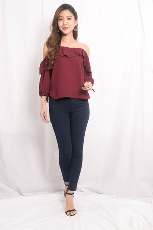 Aerka Mesh Top in Burgundy