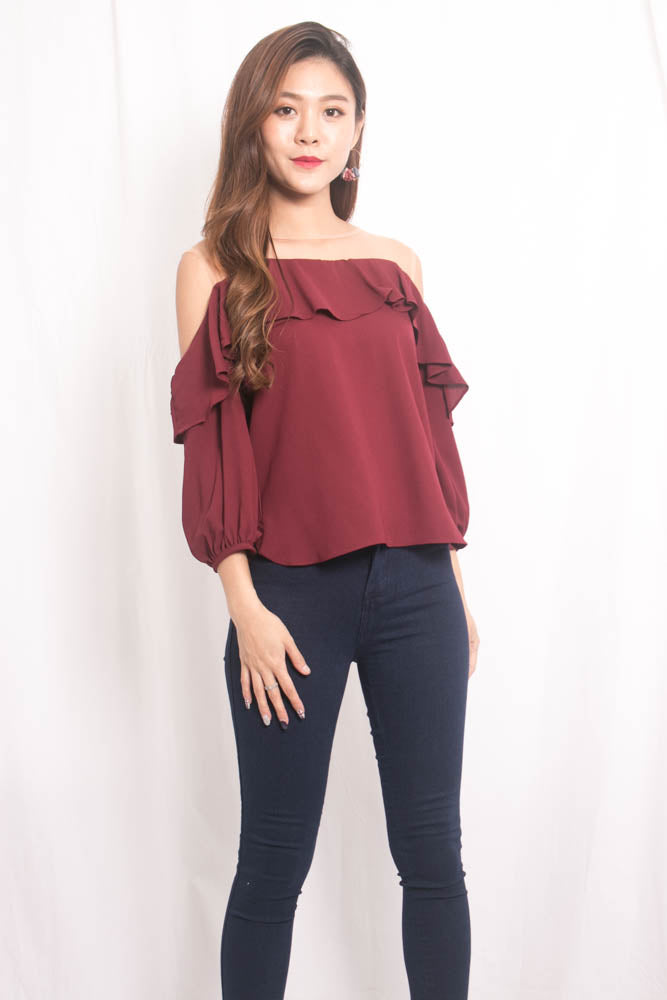 Load image into Gallery viewer, Aerka Mesh Top in Burgundy