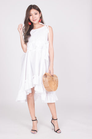 * LUXE * Eli Flutter Flare Dress in White