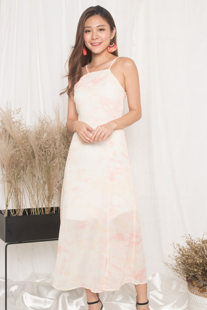 *PREMIUM* - Natalia Pastel Maxi Dress in Orange - LBRLABEL MANUFACTURED