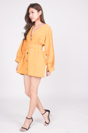 Lindie Button Down Tunic in Mustard