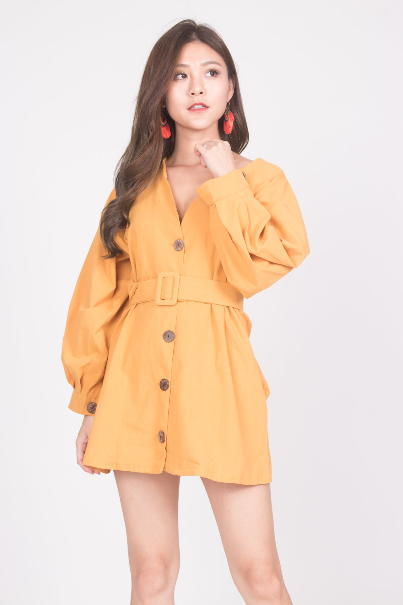 fcef9636 Lindie Button Down Tunic in Mustard - LBRLABEL