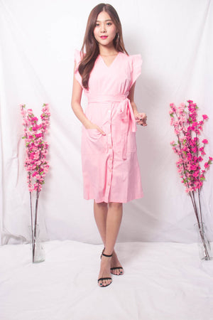 Maire Flutter Midi Dress in Pink