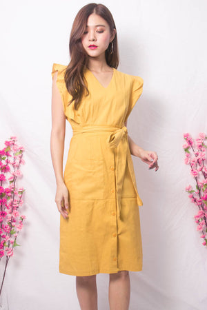 Maire Flutter Midi Dress in Yellow
