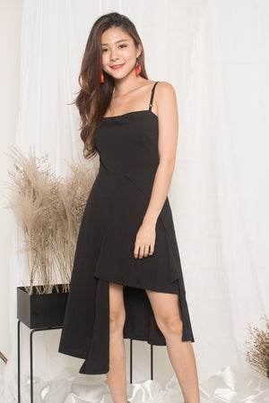 Alain Drape Dress in Black