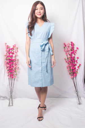 Load image into Gallery viewer, Maire Flutter Midi Dress in Blue
