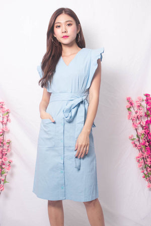 Maire Flutter Midi Dress in Blue