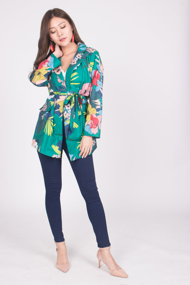 Load image into Gallery viewer, *LUXE* Keria Floral Kimono Blazer in Green