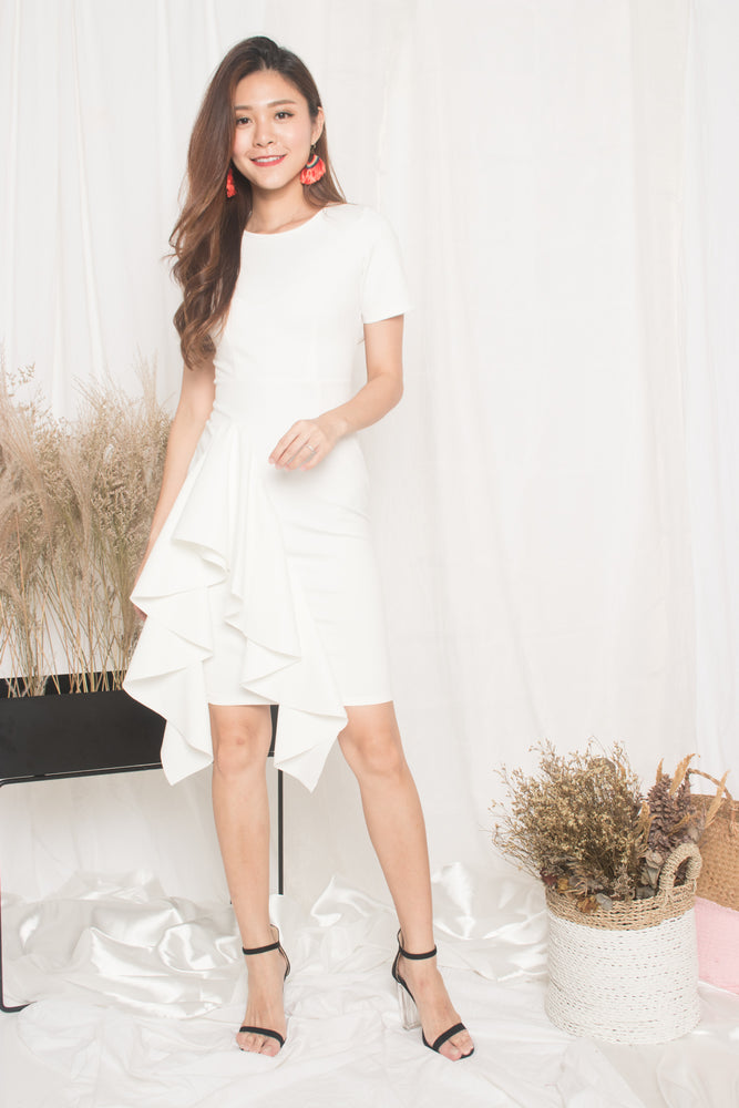 Load image into Gallery viewer, *PREMIUM* - Earilia Sleeved Flutter Dress in White - LBRLABEL MANUFACTURED