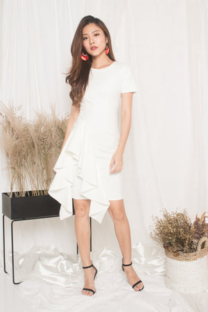 *PREMIUM* - Earilia Sleeved Flutter Dress in White - LBRLABEL MANUFACTURED