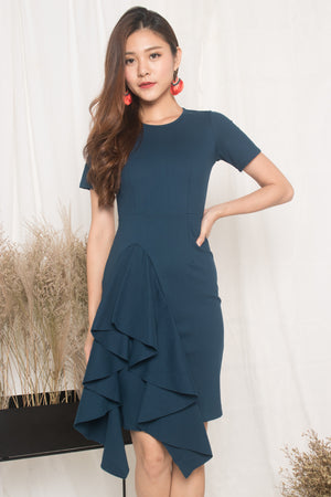 *PREMIUM* - Earilia Sleeved Flutter Dress in Teal - LBRLABEL MANUFACTURED