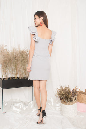 LUXE - Makenna 2 Ways Flutter Dress in Grey