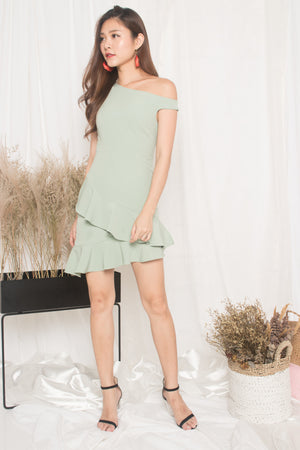 Kellen Flutter Offsie Dress in Mint