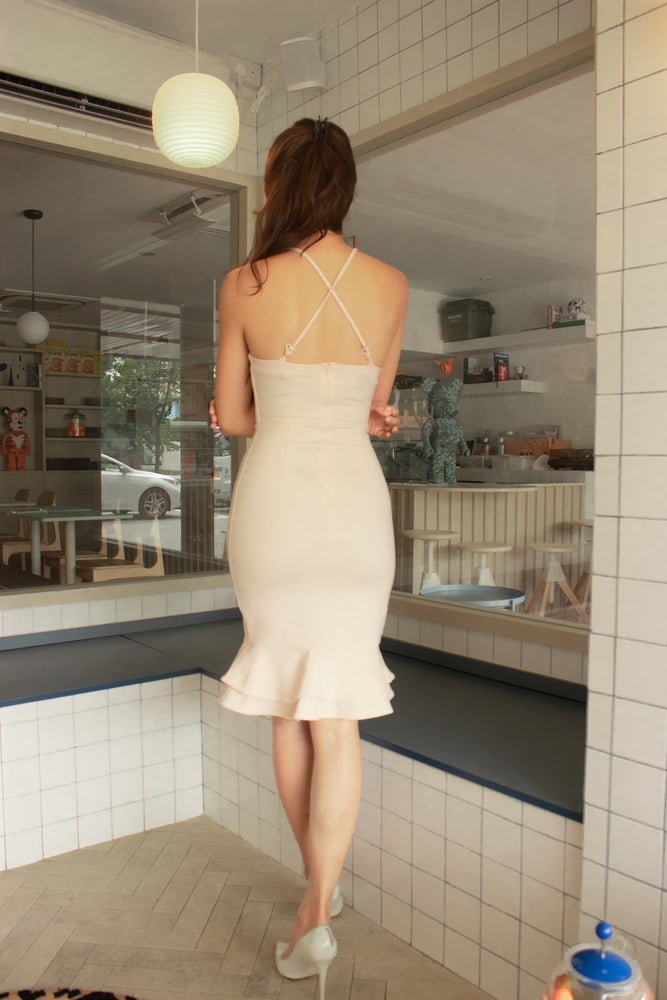 Load image into Gallery viewer, *PREMIUM* - Lorilia Cross Back Mermaid Dress in Nude - Self Manufactured by LBRLABEL