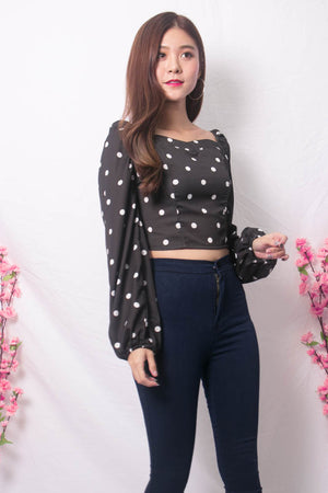 Yesie 2 Way Polkadot Top in Black