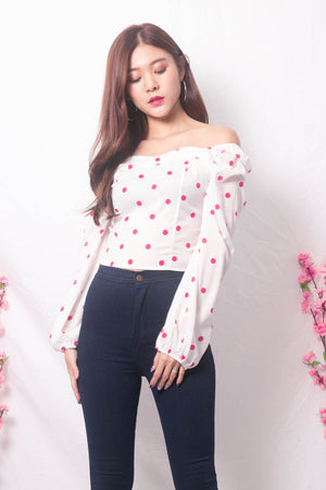 Yesie 2 Way Polkadot Top in White