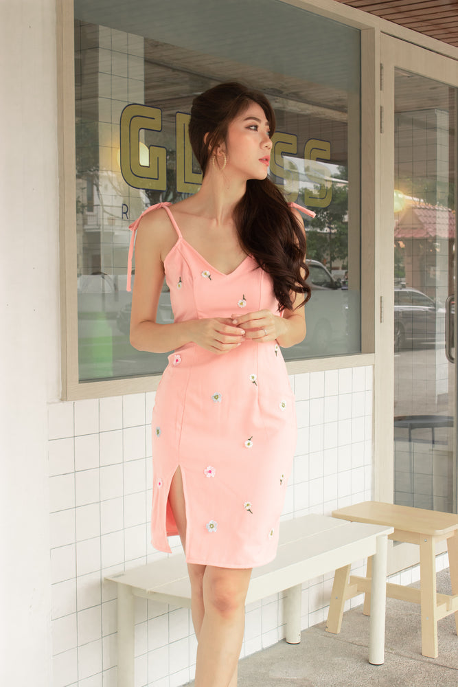 * PREMIUM * Eerilia Floral Embroided Dress in Pink - Self Manufactured by LBRLABEL