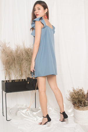 Joelina 3 Ways Flutter Dress in Blue