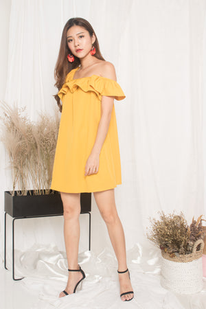Joelina 3 Ways Flutter Dress in Mustard