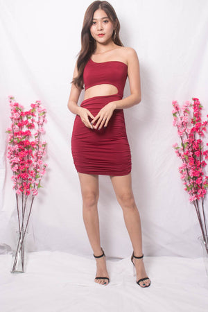Tiffania Toga Bodycon Dress in Burgundy