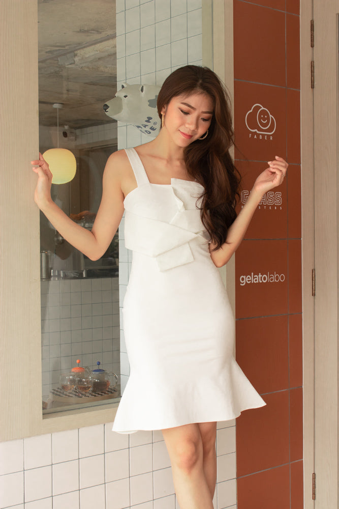 *PREMIUM* - Sorelia Wrapped Mermaid Dress in White - Self Manufactured by LBRLABEL